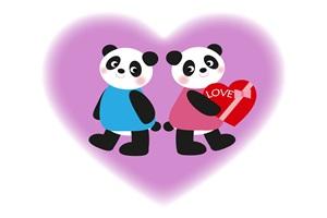 バレンタインの可愛いパンダのカップルのイラスト