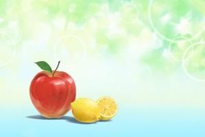 りんごとレモンの壁紙のイラスト