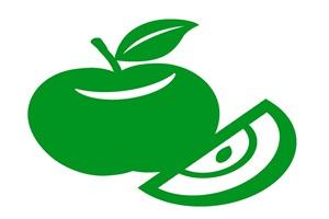 カラーシルエットのりんごのイラスト