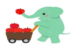 象とりんごのイラスト