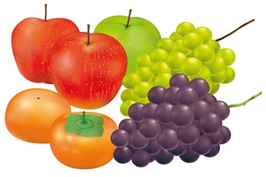 りんご・ぶどう・柿のイラスト