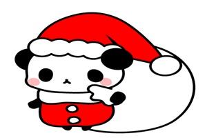 クリスマスのサンタコスプレをした可愛いパンダのイラスト