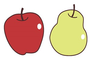 りんごと洋梨のイラスト
