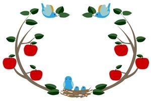 りんごと鳥のイラストフレーム