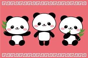 可愛いパンダの壁紙・背景のイラスト