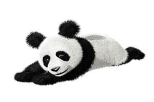 寝そべっているリアルなパンダのイラスト