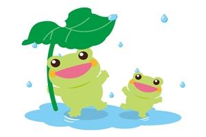 葉っぱの傘で雨宿りをするカエルのイラスト