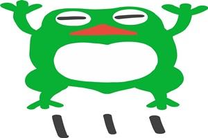 飛び跳ねるカエルの可愛いイラスト