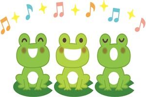 合唱して歌っているカエルのイラスト