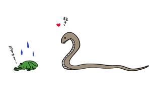 蛇に睨まれたカエルのイラスト