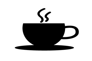 白黒シルエットのコーヒーカップのイラスト