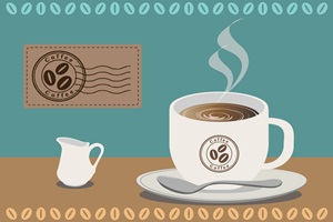 コーヒーカップのイラスト背景・壁紙