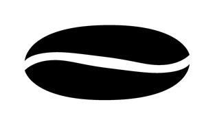 白黒のコーヒー豆のイラスト