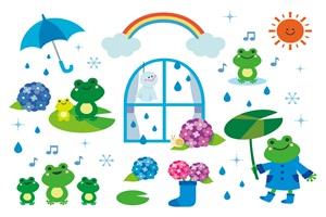 梅雨時のカエルのイラスト