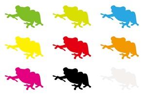 カラーシルエットのカエルのイラスト