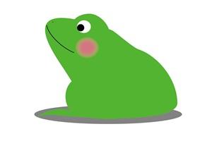横向きのカエルの可愛いイラスト