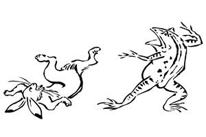カエルとうさぎの鳥獣戯画のイラスト