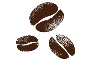 スタンプ風のコーヒー豆のイラスト