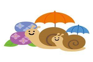 カタツムリと傘のイラスト