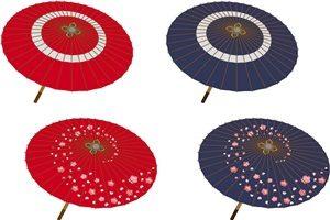 和柄の傘の無料イラスト