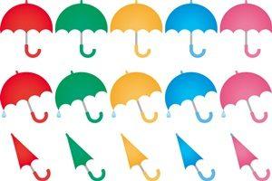 カラフルな傘のイラスト