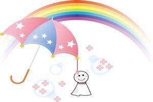 傘と虹とてるてる坊主のイラスト