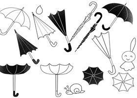 白黒の傘の無料イラスト