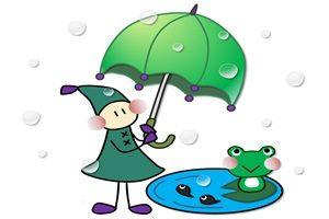 妖精と傘とカエルのイラスト