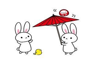 うさぎと傘の無料イラスト