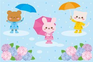 動物と傘の無料イラスト