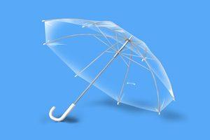 透明な傘のリアルなイラスト